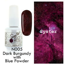 SYSTER 15ml Nail Art Soak Off Color UV Gel Polish N005 - D. Burgundy Blue Powder