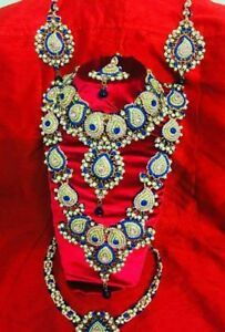 Patwa Indian Bridal Set Maroon White, Pink Blue Polki Kundan Haar