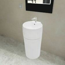 vidaXL Ceramic Stand Bathroom Sink Basin Faucet/Overflow Hole White Round Bath