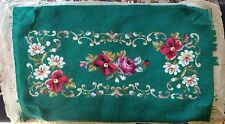 "Finished ~ Hand Worked ~ Green Wool NEEDLEPOINT BENCH COVER ~ 26"" x 16"" ~Vintage"
