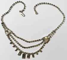 collier bijou vintage rivière cristaux diamant couleur argent brillance * 3398