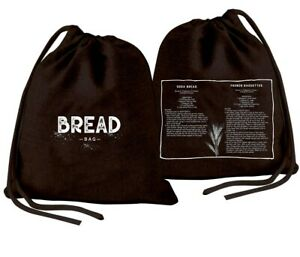 NEW: Bread Bag with Printed Recipe / Reusable Fresh Produce Storage Bag (Black)