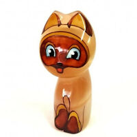 Cute Cat Figurine, Selenite 'Kitten Named Woof' Sculpture, Russian Handmade