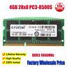 Crucial 4GB 8GB 16GB 40G 2GB PC3-8500S DDR3 1066MHz SODIMM Laptop Memory RAM Lot
