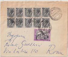 ITALIA1958 15L SALVIO +1L BLOCCO 1L SIRACUSANA DA 10 SU LETTERA DA NAPOLI X ROMA