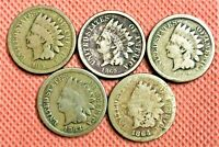 INDIAN HEAD CENTS PENNIES 1859, 1860, 1962, 1863 AND 1864 (5 COINS)