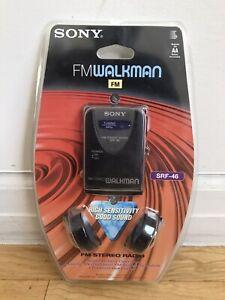 Sony FM Walkman SRF-46 FM Stereo Radio NEW with Headphones and Belt Holder