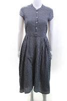 J Crew Womens Cap Sleeve Crew Neck Plaid Midi Dress Gray Cotton Size 4