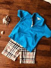Orig Burberry Kinder T Shirt Bluse Polo Kragen Hemd Gr. 4 Jahre 104 cm Blau Nova