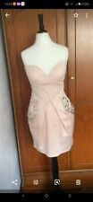 LIPSY PEACH SHORT DRESS  SIZE 8  PADDED BUST BONED JEWELLED POCKETS EXCELLENT CO