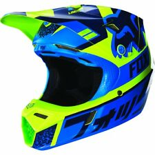 Fox Racing Youth V3 Divizion Blue Dirt Bike Motorcycle Helmet Size Youth Small