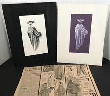 1959 Lot —2 Fashion Design Commercial Art Originals Stylish Mid-Century Couture