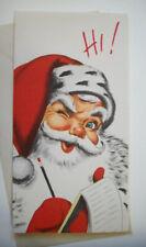 Winking Santa w list 50's Mcm vintage Christmas greeting card unused *7B