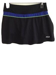 fila womens activewear skort size:S black w/green,blue trim