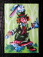 """Original art by Bastet """"The Hatter"""" OOAK hand painted ACEO"""