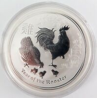 .2017 AUSTRALIAN YEAR OF THE ROOSTER 1oz .9999 SILVER PROOF $1 in CAPSULE.