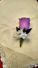 Lavender Silk Rose Boutonniere - Groom/Groomsman -Wedding-Prom flowers