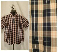 New Roundtree&Yorke Men's Size Large Button Down Black Plaid Short Sleeve Shirt