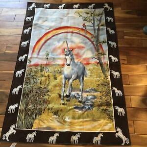 "Vintage 1970's Unicorn Large Cloth Wall Tapestry Unicorn Retro 35"" X 54"" Turkey"