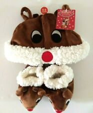 Rudolph Red Nosed Reindeer Baby 0-6 Months Cap and Booties Brand New