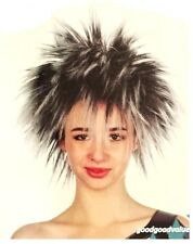 Unisex Short Straight Silver Black Spiky Wig Fancy Party Costume Hair Headdress