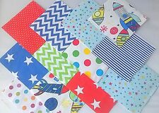 """30 x BABY BOY ROCKET SHIP SPACE 5"""" FABRIC PATCHWORK SQUARES PIECES CHARM PACK"""