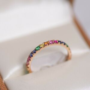 14K Gold Rainbow Gemstone Eternity Ring Multi Color Band Size 7.5 Natural Round