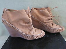 Miss Sixty Hiroki 10 Camel  Leather Slip on Tie Bootie Boots NIB Really CUTE!