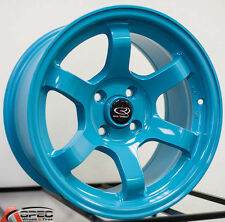 15X8 ROTA GRID CONCAVE 4X100 +20 TEAL BLUE WHEEL FIT CIVIC SI VW JETTA MK3 XA XB