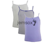 9 x Girls 100% Cotton Cami Vests White/Lilac 1.5-2 2-3 3-4 5-6 7-8 9-10 Years
