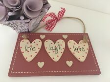 Pink Wooden Sign Plaque Live Love Laugh Shabby Chic Vintage Rustic Heart Polka