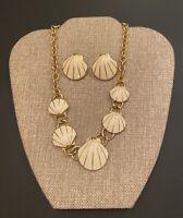 Vintage Trifari ™ Gold Tone Cream Enamel Shell Choker Necklace & Earrings Set