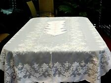 OUTSTANDING  WHITE ORGANDY  HAND CRAFTED  TABLECLOTH 215  X 120 CM & NAPKINS