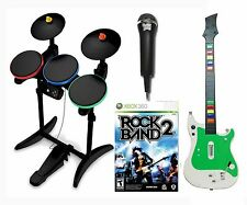 XBox 360 ROCK BAND 2 Video Game w/NEW Guitar/Wireless Drums/Mic Bundle Set hero