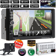 "CAMERA+7"" HD Double 2 Din Car MP5 Player Bluetooth Touch Screen Head Units GPS"