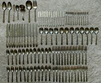 103pc ANTIQUE ROGERS XII OVERLAID IS SILVERWARE 12 Person Setting + 7 Servers
