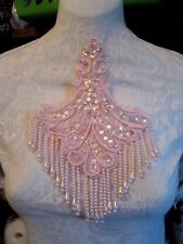 "9"" **FANCY FRINGE** Bead & Sequin Applique - PINK"
