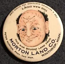 MORTON LAND CO Winthrop Minn Celluloid Trick Pocket Mirror Brown Bigelow St Paul