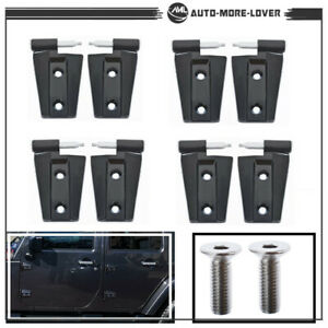 For 2007 2008-2017 Jeep Wrangler Unlimited JK  Door Hinges Set 4 Doors Black