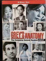 Greys Anatomy - Season 2: Uncut (DVD, 2006, 6-Disc Set) Brand New Factor Sealed