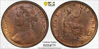 PCGS MS-64 RED-BN GREAT BRITAIN HALFPENNY 1/2 PENNY 1882 -H