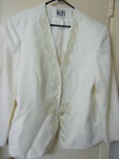 Stella Louise For KB Cream Colored Suit Jacket And Skirt Size 24 Padded Shoulder