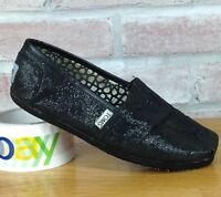 Toms Classics Black Glitter Sequin Slip-On Shoes Women's SZ 6 Boat Slip On Flats