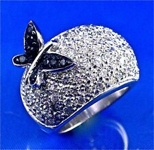 STERLING SILVER BLACK BUTTERFLY ON PAVE SET WHITE CZ DOME RING, SIZE-7, 1.50CTS