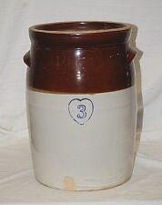 Old Antique Stoneware Cobalt Blue Heart 3 Butter Churn Crock Primitive Farm Tool