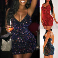 Women Lady Sexy Solid Sequins V-Neck Dress Sleeveless Party Short Camisole Dress