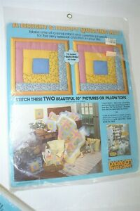 NOS Vtg Quilting Fabric Pattern Kit PARAGON Picture Pillows Calico Log Cabin 996