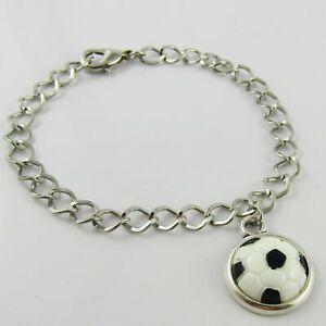 Chain Link Resin Cabochon Soccer Ball Charm Bracelet 20cm Sports Team Gift
