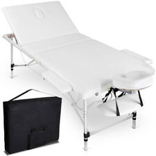 75cm Portable Aluminium Massage Table 3 Fold White Bed Beauty Therapy Waxing