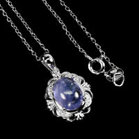 Unheated Oval Blue Tanzanite 10x8mm Cz 925 Sterling Silver Necklace 18 Inches